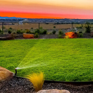 We use water savings conservation techniques in our irrigation systems.