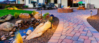 A river or pond along your patio walkway will enhance any yard.