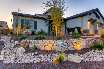 A more rustic rock look can create a homey touch to your outdoor landscaping needs.